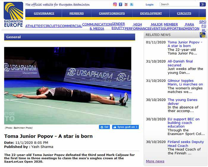 Pebulutangkis, Toma Junior Popov (22) tahun mengalahkan unggulan ketiga Mark Caljouw untuk pertama kalinya tunggal putra di SaarLorLux Open 2020. Copyright: badmintoneurope