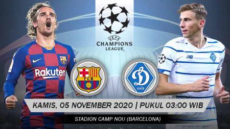 Berikut link live streaming pertandingan Liga Champions Grup G yang akan mempertemukan Barcelona vs Dynamo Kiev. - INDOSPORT