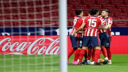 Pemain Atletico Madrid merayakan gol Marcos Llorente - INDOSPORT