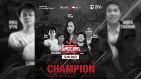 Komika Uus dan tim akhirnya keluar sebagai juara Celebrity Superstars Battle, Minggu (08/11/20). - INDOSPORT