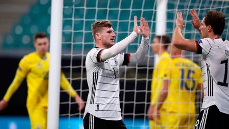 Berikut tersaji hasil pertandingan UEFA Nations League 2020 antara Jerman vs Ukraina yang berlangsung pada Minggu (15/11/20) di Red Bull Arena (Leipzig). - INDOSPORT