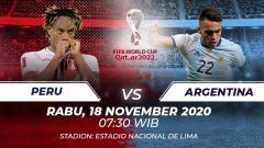 Indosport - Berikut tersaji link live streaming pertandingan Kualifikasi Piala Dunia 2022 antara Peru vs Argentina yang akan berlangsung pada Rabu (18/11/20).