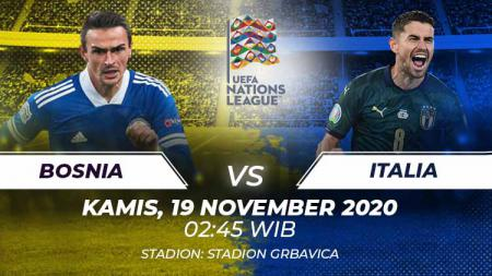 Berikut tersaji link live streaming pertandingan sepak bola UEFA Nations League antara Timnas Bosnia vs Italia yang akan berlangsung pada Kamis (19/11/20). - INDOSPORT