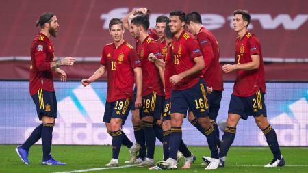 Timnas Spanyol merayakan gol ke gawang Jerman di pertandingan UEFA Nations League, Rabu (18/11/20) dini hari WIB. - INDOSPORT