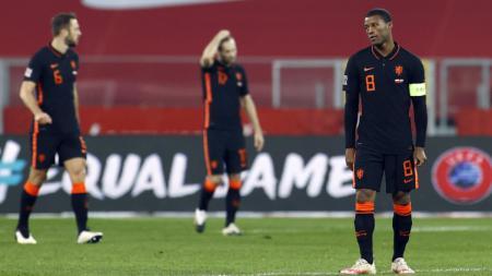 Kekecewaan para pemain Belanda di laga melawan Polandia dalam lanjutan UEFA Nations League - INDOSPORT