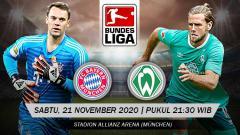 Indosport - Berikut ini link live streaming pertandingan Bundesliga Jerman antara Bayern Munchen vs Werder Bremen pada hari ini, Sabtu (21/11/20) pukul 21.30 WIB.