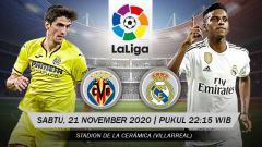 Indosport - Berikut ini link live streaming pertandingan LaLiga Spanyol 2020-2021 antara Villarreal vs Real Madrid yang akan berlangsung pada Sabtu (21/11/20) malam WIB.