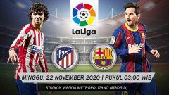 Indosport - Berikut tersaji prediksi pertandingan LaLiga Spanyol 2020-2021 antara Atletico Madrid vs Barcelona yang akan berlangsung pada Minggu (22/11/20) pukul 03.00 WIB.