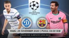Indosport - Berikut tersaji prediksi pertandingan Liga Champions 2020-2021 antara Dynamo Kyiv vs Barcelona yang akan berlangsung pada Rabu (25/11/20) pukul 03.00 WIB.