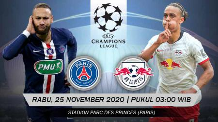 Berikut tersaji link live streaming pertandingan Liga Champions 2020/21 antara Paris Saint-Germain vs Red Bull Leipzig yang akan bertempat di Parc des Princes. - INDOSPORT