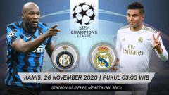 Indosport - Berikut tersaji prediksi pertandingan Liga Champions 2020-2021 antara Inter Milan vs Real Madrid yang berlangsung pada Kamis (26/11/20) pukul 03.00 WIB.