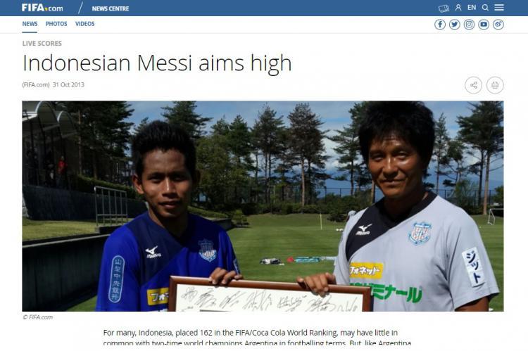 FIFA menjuluki Andik Vermansah sebagai Lionel Messi dari Indonesia. Copyright: FIFA.