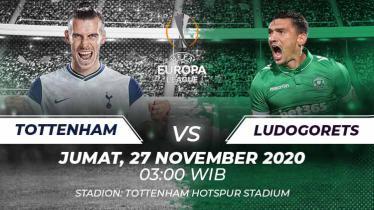 Berikut ini link live streaming pertandingan Liga Europa Tottenham Hotspur vs Lodogorets yang akan berlangsung hari ini, Jumat (27/11/20) pukul 03.00 WIB.