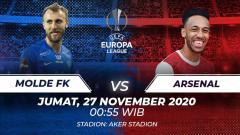 Indosport - Berikut prediksi pertandingan Molde vs Arsenal di ajang Liga Europa Grup B, Jumat (27/11/2020) pukul 00.55 WIB di Stadion Aker.