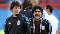 Indosport - Diego Maradona dan Lionel Messi.