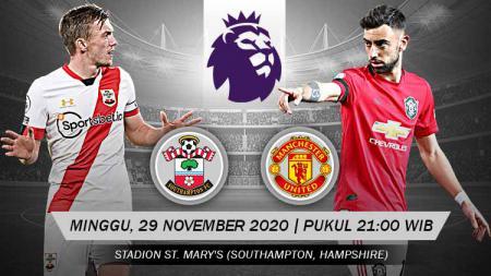 Pekan ke-10 Liga Inggris 2020/2021 mempertemukan Southampton vs Manchester United. Berikut rangkuman prediksi duel yang akan berlansung di St Mary's Stadium, Minggu (29/11/20) malam WIB. - INDOSPORT