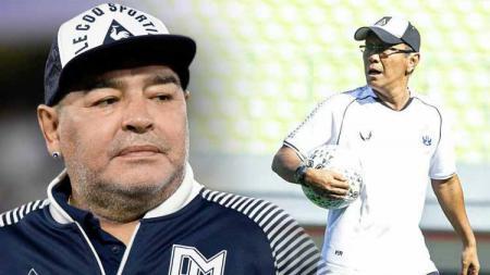 Diego Maradona dan Bambang Nurdiansyah. - INDOSPORT
