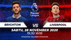 Indosport - Berikut link live streaming pertandingan Liga Inggris 2020-2021 antara Brighton & Hove Albion vs Liverpool yang akan berlangsung pada Sabtu (28/11/20).