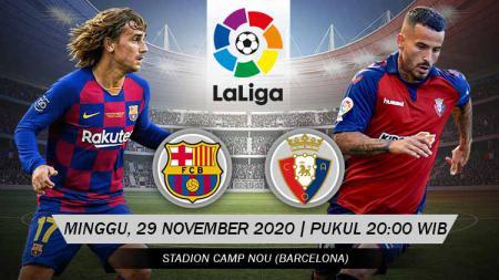 Pertandingan Barcelona vs Osasuna (LaLiga).Berikut prediksi pertandingan LaLiga Spanyol antara Barcelona vs Osasuna, Minggu (29/11/20). - INDOSPORT