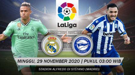 Berikut prediksi pertandingan sepak bola LaLiga Spanyol 2020-2021 antara Real Madrid vs Deportivo Alaves yang akan berlangsung pada Minggu (29/11/20). - INDOSPORT