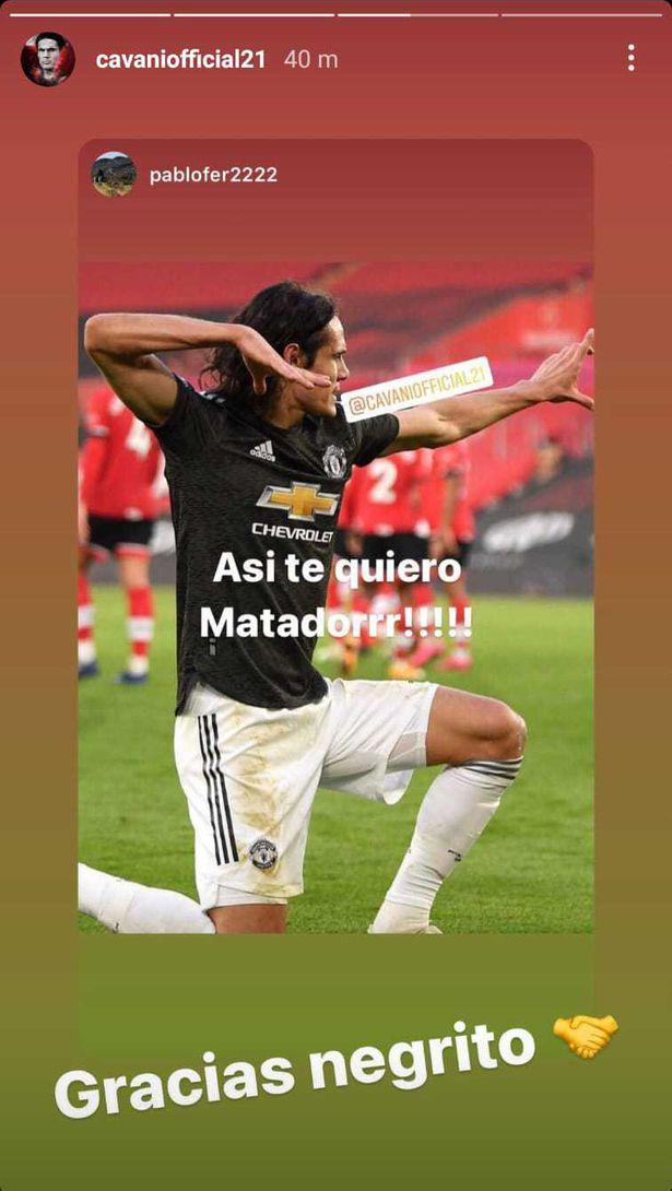 Pemain Manchester United, Edinson Cavani, diduga mengucapkan kata rasis di media sosial. Copyright: Instagram @cavaniofficial21