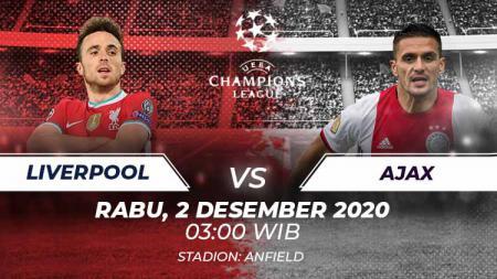 Berikut link live streaming pertandingan kelima Grup D Liga Champions 2020/21 yang akan mempertemukan Liverpool vs Ajax Amsterdam. - INDOSPORT