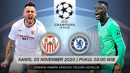 Berikut prediksi pertandingan Sevilla vs Chelsea di ajang Liga Champions Grup E, Kamis (3/12/2020) pukul 03.00 WIB di Sanchez Pizjuan. - INDOSPORT