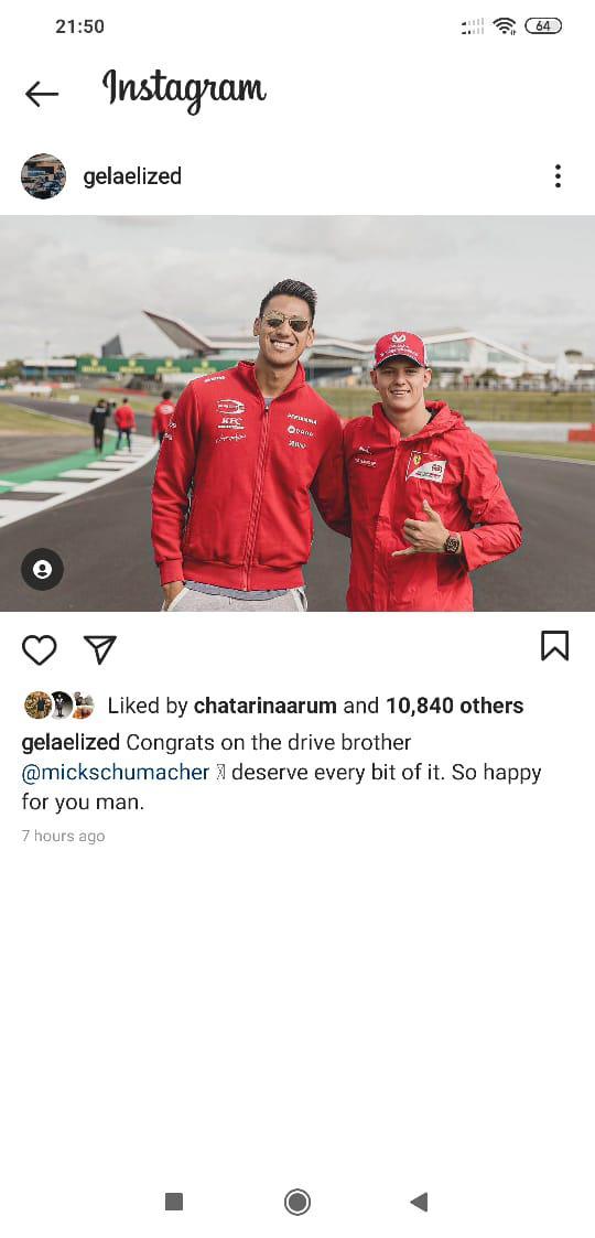 Sean Gelael mematikan kolom komentar Instagramnya saat mengunggah foto bersama Mick Schumacher Copyright: instagram.com/gelaelized/