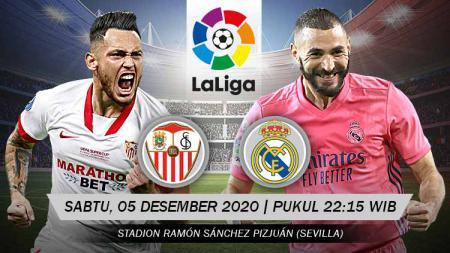 Berikut prediksi pertandingan LaLiga Spanyol 2020-2021 pekan ke-12 antara Sevilla vs Real Madrid, Sabtu (5/12/20) malam WIB. - INDOSPORT