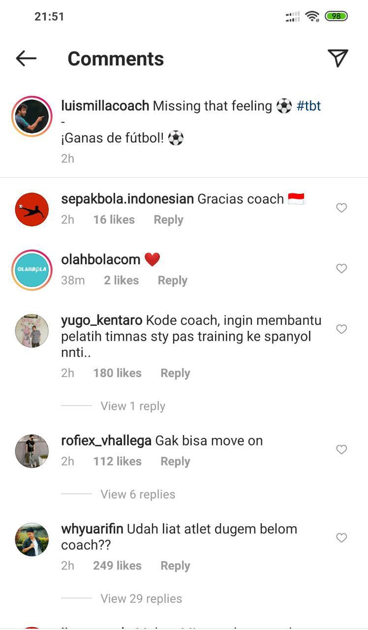Netizen memberikan komentar di Instagram Luis Milla Copyright: instagram.com/luismillacoach