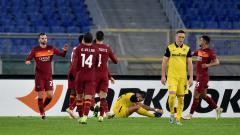 Indosport - Borja Mayoral merayakan golnya dalam laga AS Roma vs Young Boys