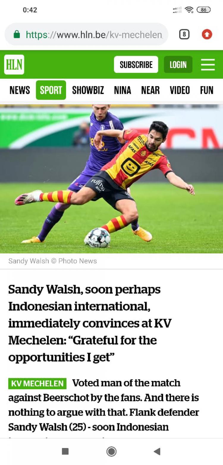 Sandy Walsh Klaim Dipanggil Shin Tae-yong untuk Bela Timnas Indonesia? Copyright: hnl.be