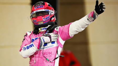 Sergio Perez berselebrasi usai menjuarai F1 GP Sakhir 2020 - INDOSPORT