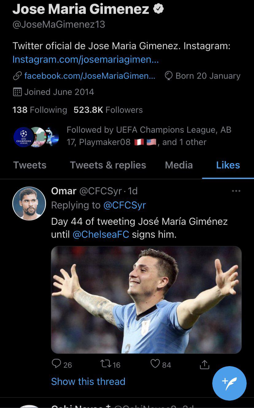 Bek Atletico Madrid, Jose Gimenez kedapatan menyukai cuitan yang mengaitkannya dengan Chelsea Copyright: twitter.com/CFCDaily