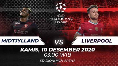 Berikut link live streaming pertandingan keenam Grup D Liga Champions 2020/21 yang akan mempertemukan FC Midtjylland vs Liverpool. - INDOSPORT