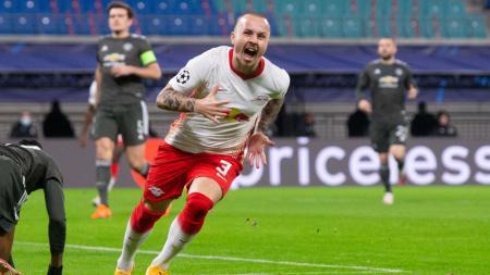 Berikut hasil pertandingan Liga Champions RB Leipzig vs Manchester United. Tuan rumah menang 3-2 berkat aksi Angelino dan mengirim MU ke Liga Europa. - INDOSPORT