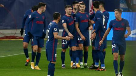 Selebrasi pemain Atletico Madrid usai Mario Hermoso mencetak gol ke gawang RB Salzburg - INDOSPORT