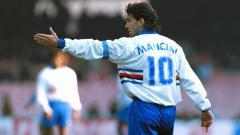 Indosport - Roberto Mancini saat masih berkarier sebagai pemain di Sampdoria.