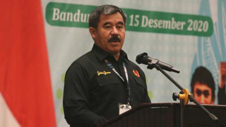 Ketua Umum KONI Jawa Barat, Ahmad Saefudin, saat Rapat Anggota Tahunan (RAT) KONI Jawa Barat 14-15 Desember 2020, di Hotel Preanger, Kota Bandung. - INDOSPORT