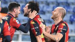 Indosport - Selebrasi gol Mattia Destro di laga AC Milan vs Genoa