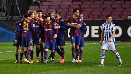 Berikut tersaji hasil pertandingan LaLiga Spanyol 2020-2021 antara Barcelona vs Real Sociedad yang berlangsung pada Kamis (17/12/20) di Camp Nou. - INDOSPORT