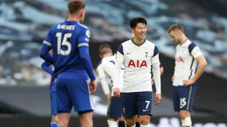 Aksi Son heung-min di laga Liga Inggris Tottenham Hotspur vs Leicester City. - INDOSPORT