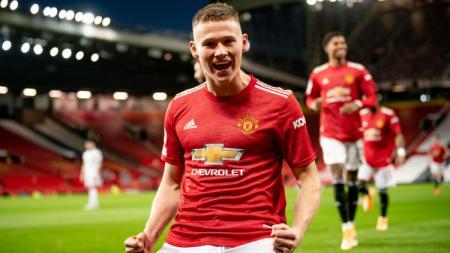 Selebrasi gol Scott McTominay di laga Manchester United vs Leeds United. - INDOSPORT