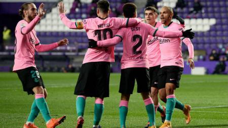 Berikut tersaji hasil pertandingan LaLiga Spanyol 2020-2021 antara Real Valladolid vs Barcelona yang berlangsung pada Rabu (23/12/20) di Stadion Jose Zorrilla. - INDOSPORT