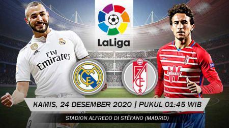 Pertandingan seru akan tersaji pada pekan ke-15 Laliga Spanyol antara tim peringkat kedua, Real Madrid, menghadapi tim peringkat keenam, Granada. - INDOSPORT
