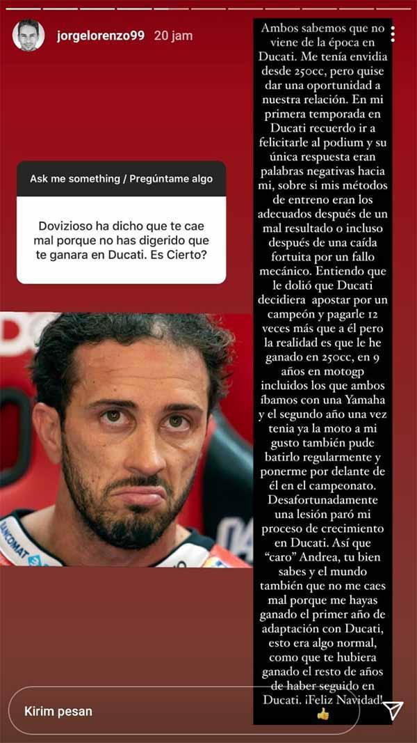 Pernyataan Andrea Dovizioso. Copyright: Instagram@jorgelorenzo99