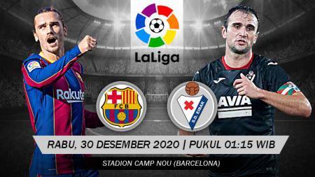 Berikut link live streaming untuk pertandingan LaLiga Spanyol antara Barcelona vs Eibar, yang akan digelar pada Rabu (30/12/20) pukul 01:15 WIB. - INDOSPORT