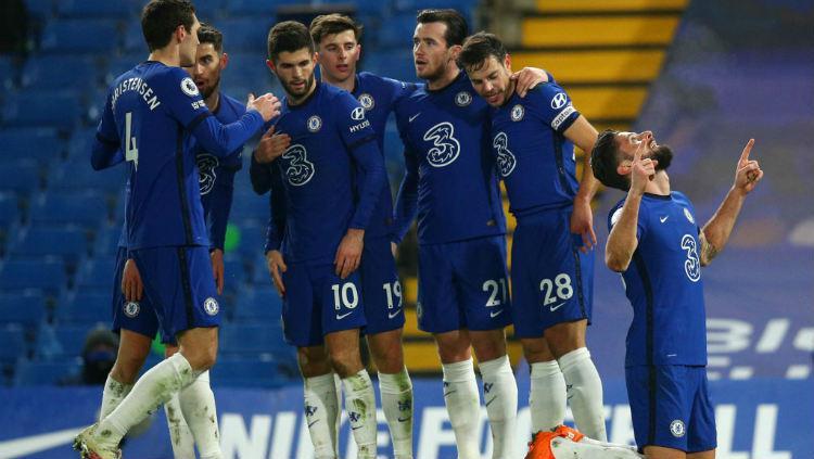 Selebrasi gol Olivier Giroud di laga Chelsea vs Aston Villa.. Copyright: Chris Lee - Chelsea FC/Chelsea FC via Getty Images