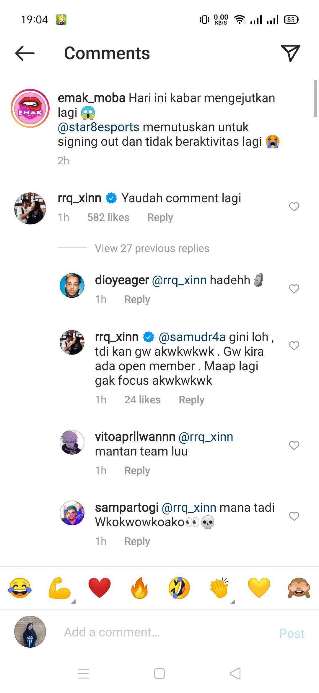 Komentar RRQ Xinnn di Instagram Copyright: Instagram