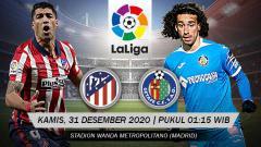 Indosport - Berikut link live streaming pertandingan LaLiga Spanyol 2020/21 pekan ke-16 antara Atletico Madrid vs Getafe, Kamis (31/12/20) pukul 01:15 dini hari WIB.